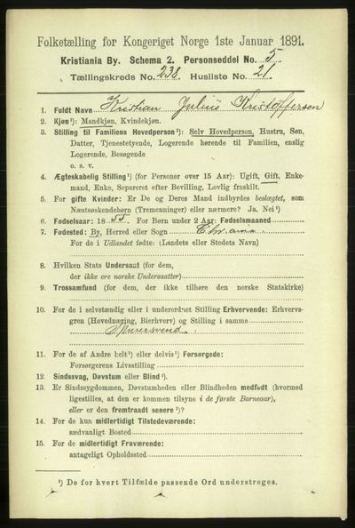 Image from object titled Folketelling 1891 - Kristiania - personsedler - side 145056