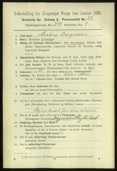 Image from object titled Folketelling 1891 - Kristiania - personsedler - side 146047