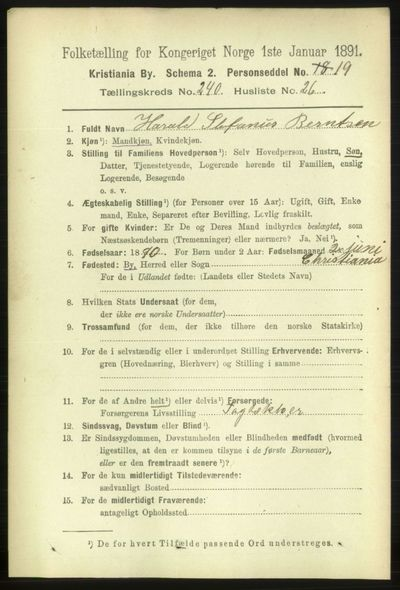 Image from object titled Folketelling 1891 - Kristiania - personsedler - side 146329