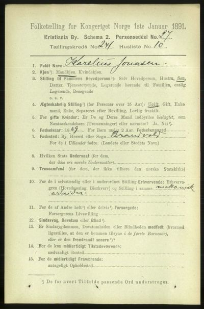 Image from object titled Folketelling 1891 - Kristiania - personsedler - side 146500
