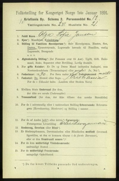 Image from object titled Folketelling 1891 - Kristiania - personsedler - side 146915