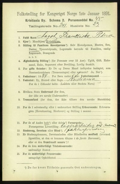 Image from object titled Folketelling 1891 - Kristiania - personsedler - side 147007