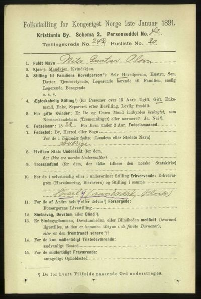 Image from object titled Folketelling 1891 - Kristiania - personsedler - side 147475