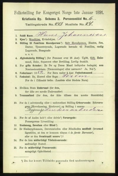 Image from object titled Folketelling 1891 - Kristiania - personsedler - side 148307
