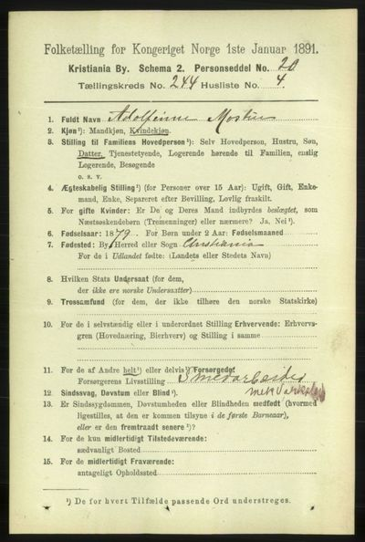 Image from object titled Folketelling 1891 - Kristiania - personsedler - side 148511