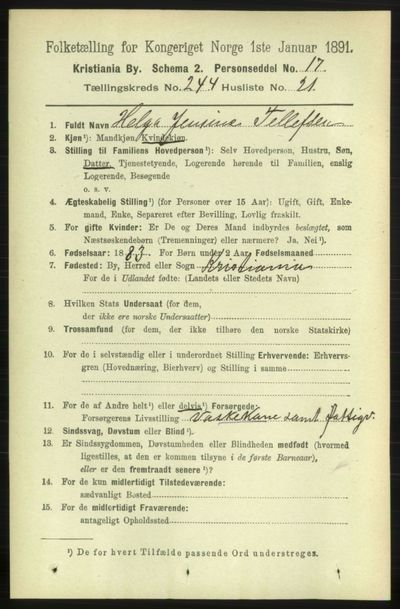 Image from object titled Folketelling 1891 - Kristiania - personsedler - side 149010