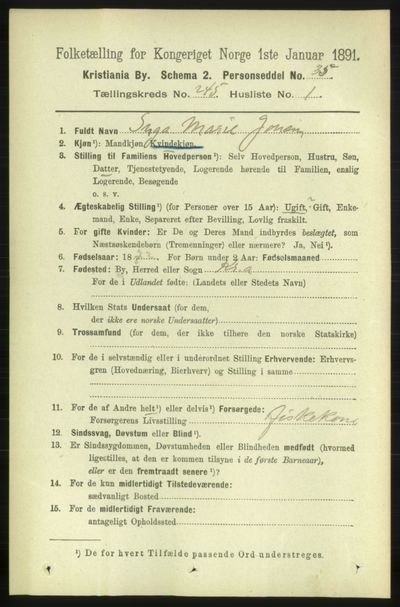 Image from object titled Folketelling 1891 - Kristiania - personsedler - side 149169