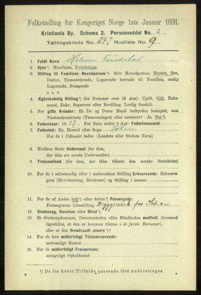 Image from object titled Folketelling 1891 - Kristiania - personsedler - side 150602