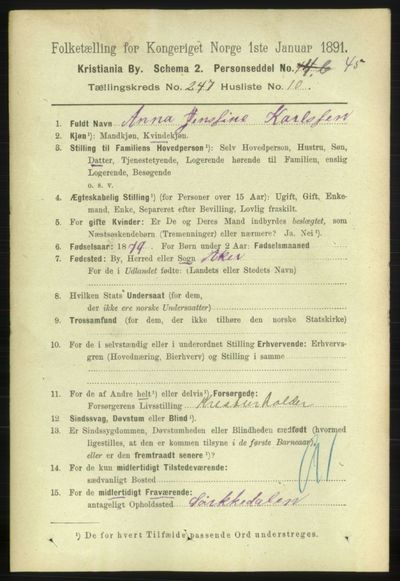 Image from object titled Folketelling 1891 - Kristiania - personsedler - side 150670