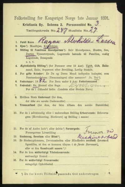 Image from object titled Folketelling 1891 - Kristiania - personsedler - side 151036