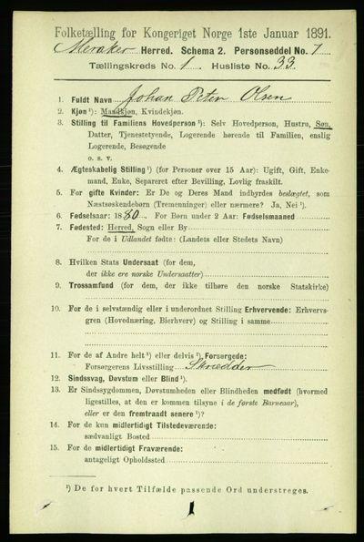 Image from object titled Folketelling 1891 - Meråker - personsedler - side 327
