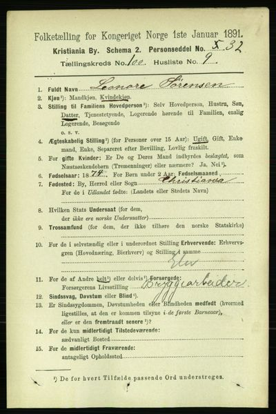 Image from object titled Folketelling 1891 - Kristiania - personsedler - side 49590