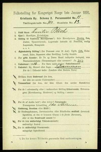 Image from object titled Folketelling 1891 - Kristiania - personsedler - side 49646