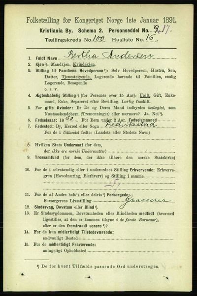 Image from object titled Folketelling 1891 - Kristiania - personsedler - side 49714