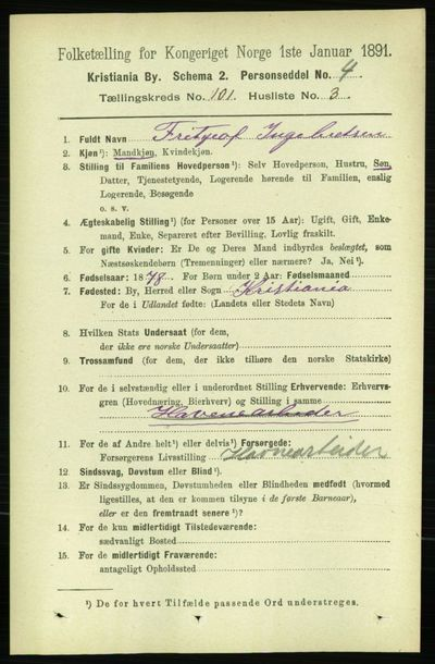 Image from object titled Folketelling 1891 - Kristiania - personsedler - side 50038
