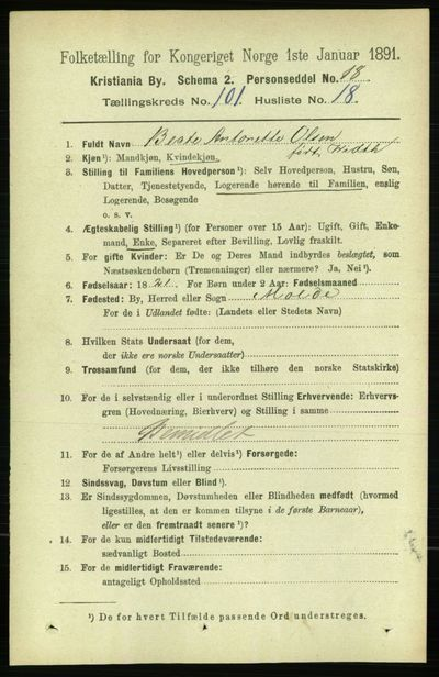 Image from object titled Folketelling 1891 - Kristiania - personsedler - side 50454