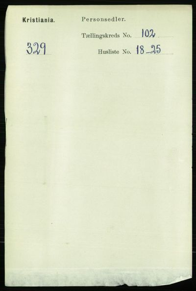 Image from object titled Folketelling 1891 - Kristiania - personsedler - side 50957
