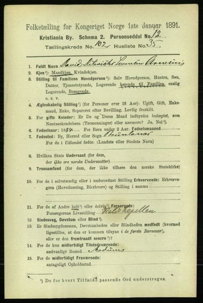 Image from object titled Folketelling 1891 - Kristiania - personsedler - side 51279