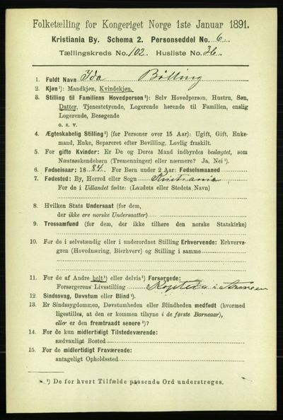 Image from object titled Folketelling 1891 - Kristiania - personsedler - side 51293