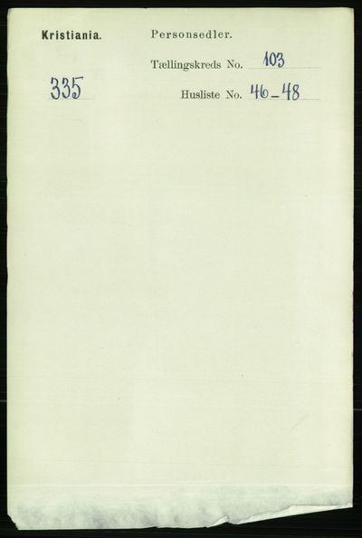 Image from object titled Folketelling 1891 - Kristiania - personsedler - side 52060
