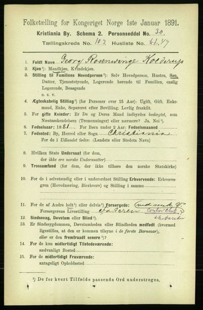 Image from object titled Folketelling 1891 - Kristiania - personsedler - side 52141