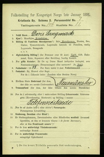 Image from object titled Folketelling 1891 - Kristiania - personsedler - side 52446