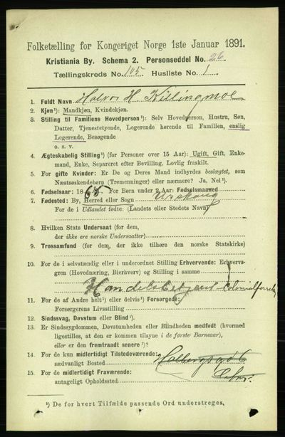 Image from object titled Folketelling 1891 - Kristiania - personsedler - side 52952