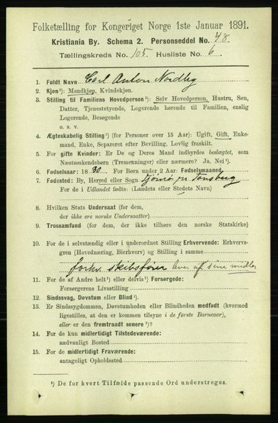 Image from object titled Folketelling 1891 - Kristiania - personsedler - side 53148