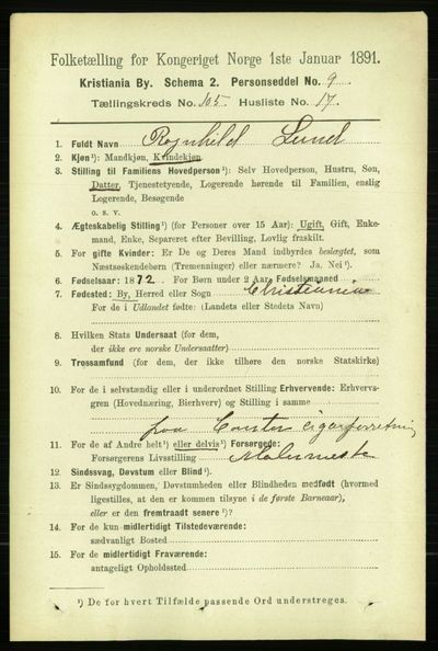 Image from object titled Folketelling 1891 - Kristiania - personsedler - side 53492