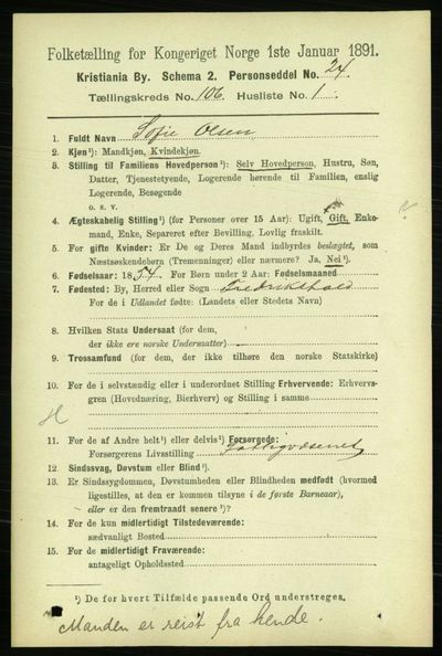 Image from object titled Folketelling 1891 - Kristiania - personsedler - side 53812