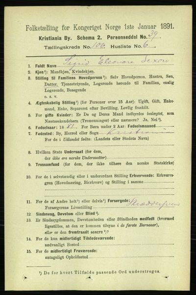 Image from object titled Folketelling 1891 - Kristiania - personsedler - side 53983
