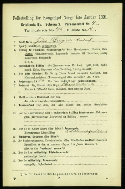 Image from object titled Folketelling 1891 - Kristiania - personsedler - side 54228