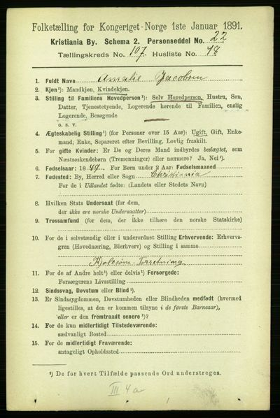 Image from object titled Folketelling 1891 - Kristiania - personsedler - side 55298