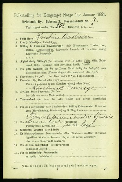 Image from object titled Folketelling 1891 - Kristiania - personsedler - side 55541
