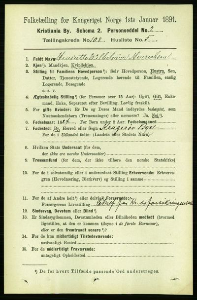 Image from object titled Folketelling 1891 - Kristiania - personsedler - side 55619