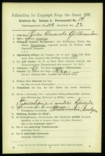 Image from object titled Folketelling 1891 - Kristiania - personsedler - side 56100
