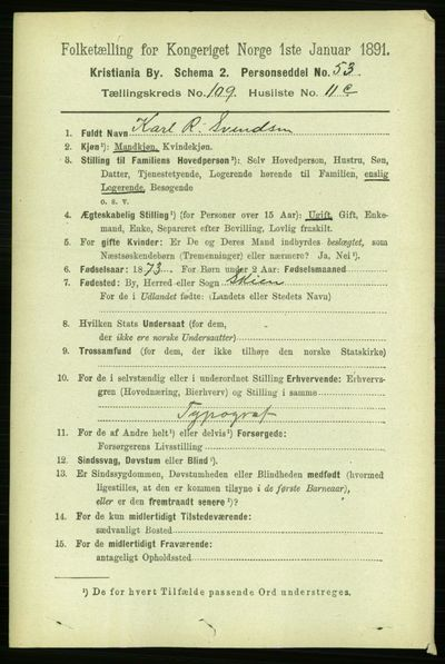Image from object titled Folketelling 1891 - Kristiania - personsedler - side 56685