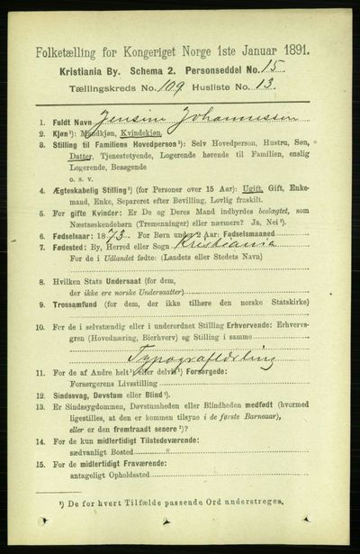 Image from object titled Folketelling 1891 - Kristiania - personsedler - side 56714