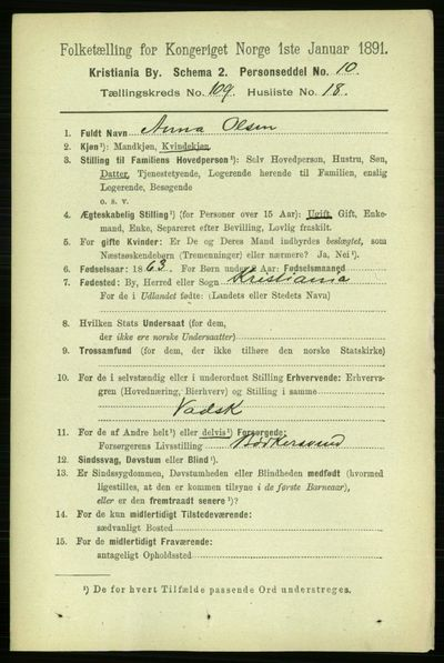 Image from object titled Folketelling 1891 - Kristiania - personsedler - side 57041