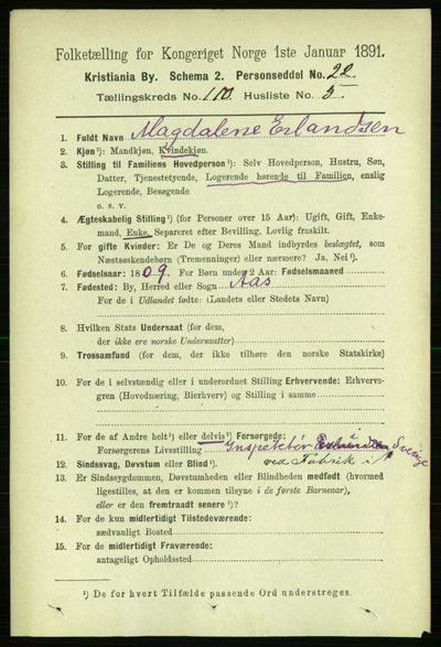 Image from object titled Folketelling 1891 - Kristiania - personsedler - side 57256