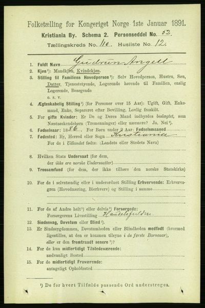 Image from object titled Folketelling 1891 - Kristiania - personsedler - side 57491