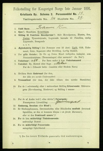 Image from object titled Folketelling 1891 - Kristiania - personsedler - side 57751