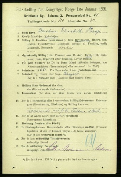 Image from object titled Folketelling 1891 - Kristiania - personsedler - side 57817