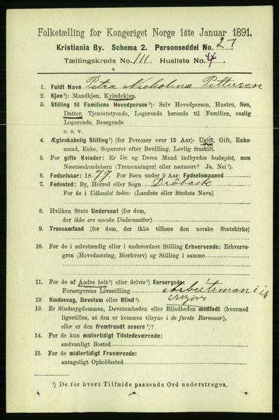 Image from object titled Folketelling 1891 - Kristiania - personsedler - side 58015