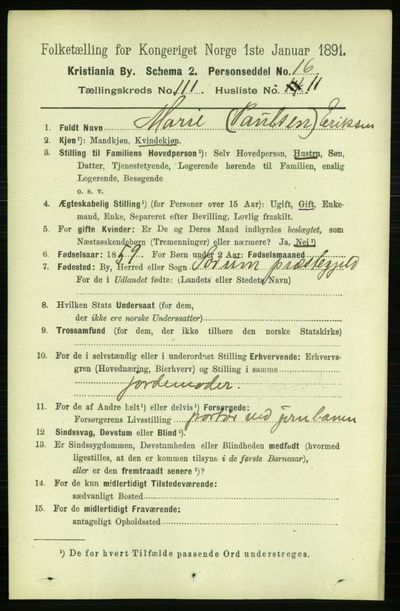 Image from object titled Folketelling 1891 - Kristiania - personsedler - side 58228