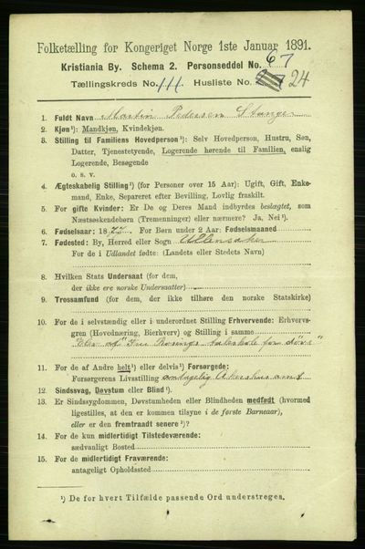 Image from object titled Folketelling 1891 - Kristiania - personsedler - side 58522