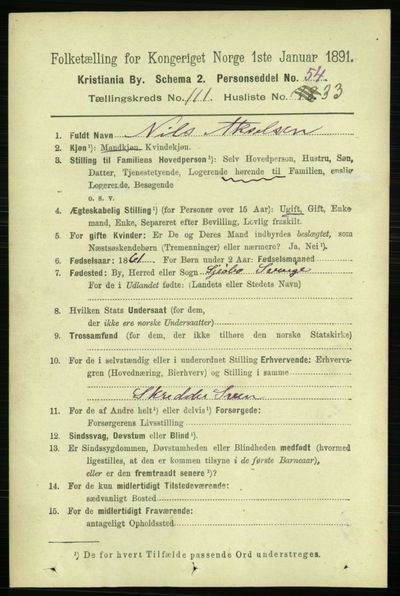 Image from object titled Folketelling 1891 - Kristiania - personsedler - side 58845