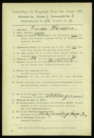 Image from object titled Folketelling 1891 - Kristiania - personsedler - side 59030