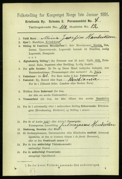 Image from object titled Folketelling 1891 - Kristiania - personsedler - side 59595