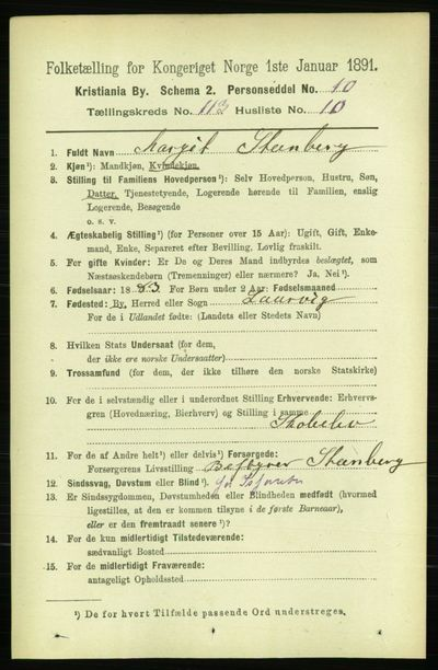 Image from object titled Folketelling 1891 - Kristiania - personsedler - side 60238